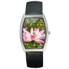 A Pink Lotus Tonneau Leather Watch