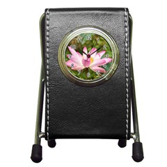 A Pink Lotus Stationery Holder Clock