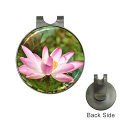 A Pink Lotus Hat Clip With Golf Ball Marker