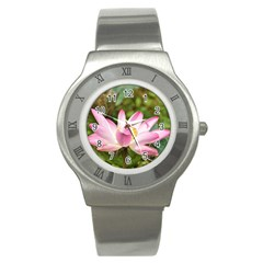 A Pink Lotus Stainless Steel Watch (Unisex)