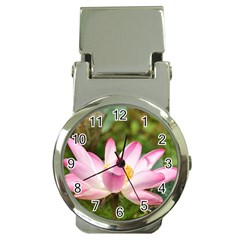 A Pink Lotus Money Clip With Watch