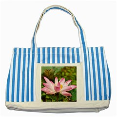 A Pink Lotus Blue Striped Tote Bag