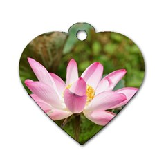 A Pink Lotus Dog Tag Heart (one Sided)