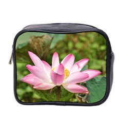 A Pink Lotus Mini Travel Toiletry Bag (two Sides)