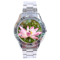A Pink Lotus Stainless Steel Watch (men s)