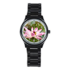 A Pink Lotus Sport Metal Watch (Black)