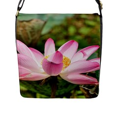 A Pink Lotus Flap Closure Messenger Bag (Large)