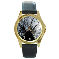 An Old Tree Round Metal Watch (Gold Rim)