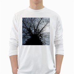 An Old Tree Mens' Long Sleeve T-shirt (White)