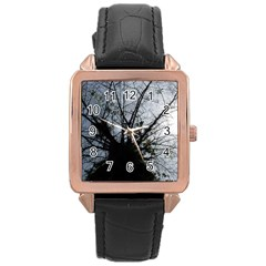 An Old Tree Rose Gold Leather Watch