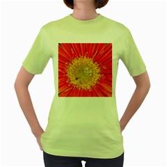 A Red Flower Womens  T-shirt (Green)