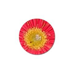 A Red Flower Golf Ball Marker