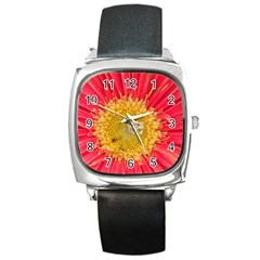 A Red Flower Square Leather Watch