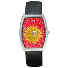 A Red Flower Tonneau Leather Watch