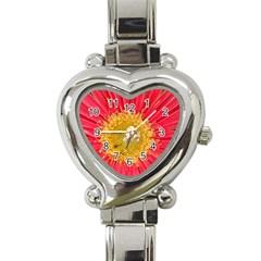 A Red Flower Heart Italian Charm Watch