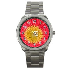 A Red Flower Sport Metal Watch