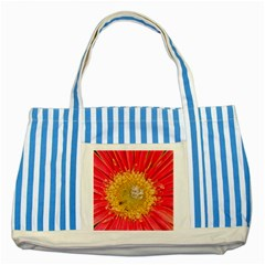 A Red Flower Blue Striped Tote Bag