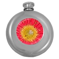 A Red Flower Hip Flask (Round)