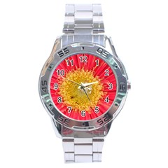 A Red Flower Stainless Steel Watch (Men s)