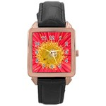 A Red Flower Rose Gold Leather Watch  Front