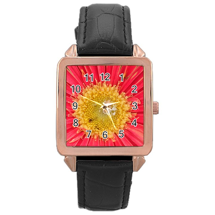 A Red Flower Rose Gold Leather Watch