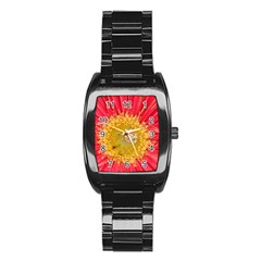 A Red Flower Men s Stainless Steel Barrel Analog Watch