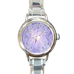 Purple Cubic Typography Round Italian Charm Watch