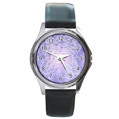 Purple Cubic Typography Round Metal Watch (Silver Rim)