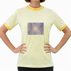 Purple Cubic Typography Womens  Ringer T-shirt (Colored)