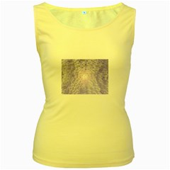 Purple Cubic Typography Womens  Tank Top (yellow)