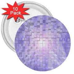 Purple Cubic Typography 3  Button (10 Pack)
