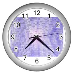 Purple Cubic Typography Wall Clock (Silver)