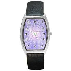 Purple Cubic Typography Tonneau Leather Watch