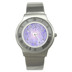 Purple Cubic Typography Stainless Steel Watch (Unisex)