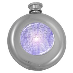 Purple Cubic Typography Hip Flask (Round)