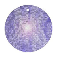 Purple Cubic Typography Round Ornament (Two Sides)
