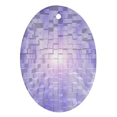 Purple Cubic Typography Oval Ornament (two Sides)