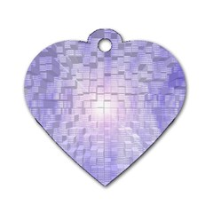Purple Cubic Typography Dog Tag Heart (one Sided)