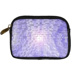 Purple Cubic Typography Digital Camera Leather Case