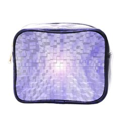 Purple Cubic Typography Mini Travel Toiletry Bag (One Side)