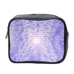 Purple Cubic Typography Mini Travel Toiletry Bag (Two Sides)