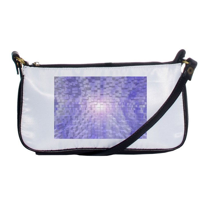 Purple Cubic Typography Evening Bag