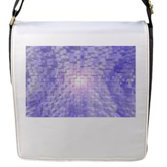 Purple Cubic Typography Flap Closure Messenger Bag (small)