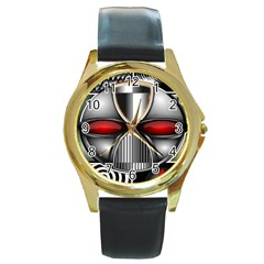 Portal Round Metal Watch (gold Rim)