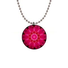 Pink Flower Design Button Necklace