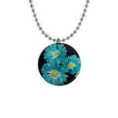 Teal Aster Button Necklace