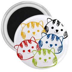 kawaii cat faces 3  Button Magnet