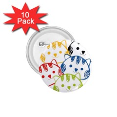 Kawaii Cat Faces 1 75  Button (10 Pack)