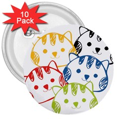 kawaii cat faces 3  Button (10 pack)