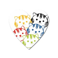 Kawaii Cat Faces Magnet (heart)